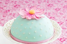 Decorated cake and cupcakes