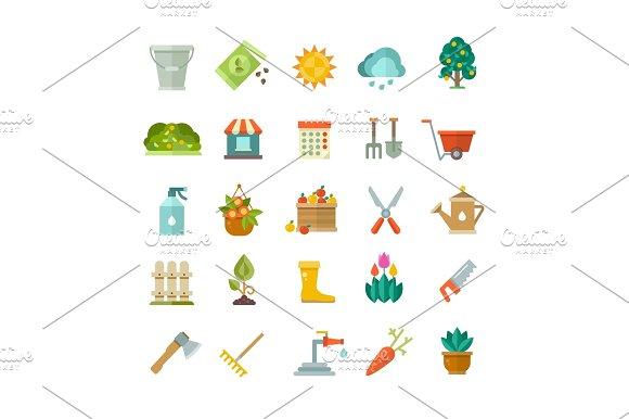 Garden Tools Gardening Equipment Flat Vector Icons