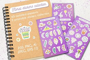 Floral stickers collection