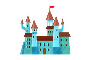 Fairy medieval castle in cartoon style on white background is insulated