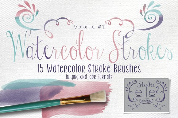 Watercolor Strokes Vol. #1 - Brushes
