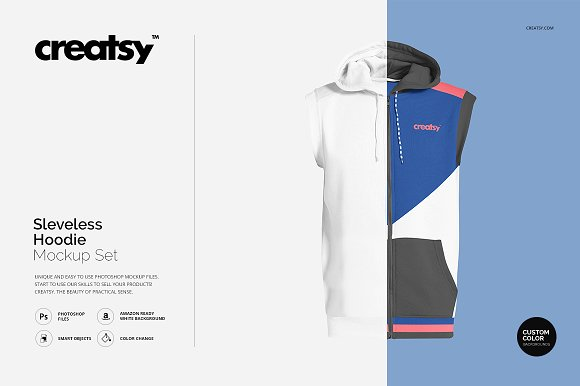 Download Sleeveless Hoodie Mockup Set