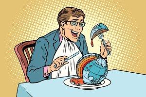Politician eats the planet
