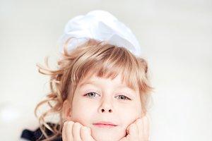 Kid blonde girl closeup