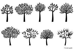 Black leafy tree silhouettes clipart
