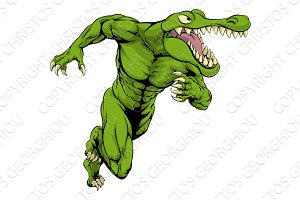 Crocodile or alligator  mascot running