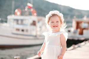 Happy baby girl outdoors