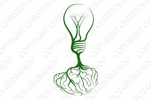 Brain lightbulb concept