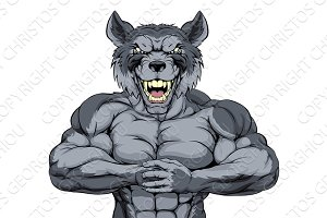 Mean wolf sports mascot