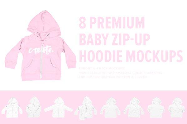 8 Premium Baby Zip-Up Hoodie Mockup…
