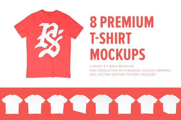 Download 8 Premium Unisex T-Shirt Mockups