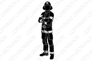 Firefighter or fireman silhouette