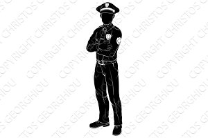 Policeman or police officer silhouette