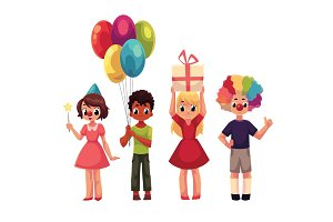 Set of kids at birthday party, holding gift and balloons