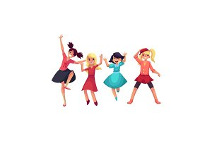 Four girls in colorful clothes having fun, dancing at party