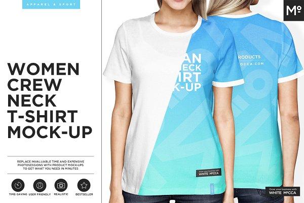 Women Crew Neck T-Shirt Mock-up