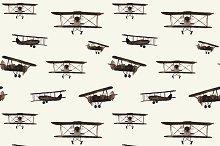 Watercolor retro airplanes pattern