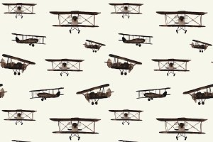 Watercolor retro airplanes pattern