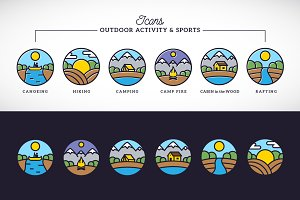 Outdoor Activity Line Icons