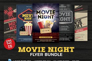 Movie Night Flyer Template Bundle