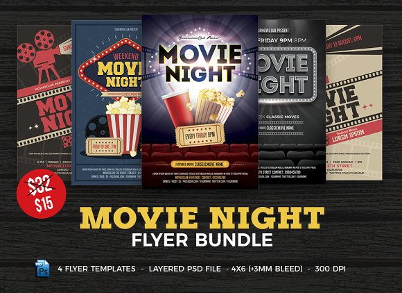 movie night flyer template bundle flyer templates creative market