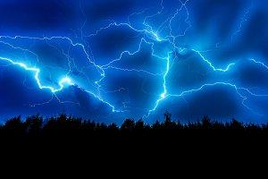 Lightning strike on a dark blue sky