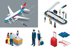 Isometric Airport Travel and transport Icons. Isolated people, airport terminal, airplane, traveler man and woman, airport runway, plane, runway, airport security.