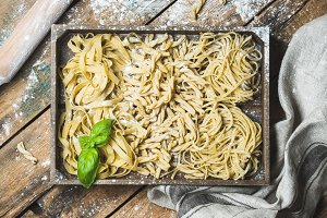 Homemade uncooked Italian pasta