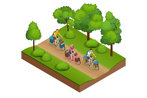 Isometric bikers on bicycle with travelling bag for travel.
