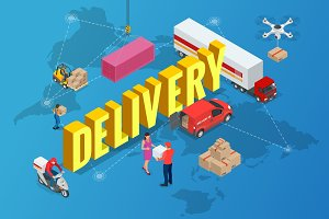Isometric delivery concept. Delivery of goods from anywhere in the world home.