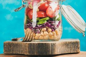 Healthy take-away lunch jar