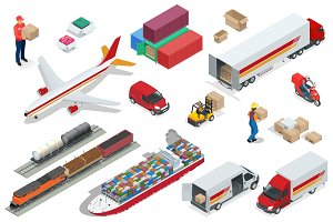 Isometric Logistics icons set of different transportation distribution vehicles, delivery elements. Air cargo trucking, rail transportation, maritime shipping, Vehicles designed to carry large numbers