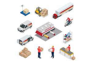 Isometric Logistics icons set of different transportation distribution vehicles, delivery elements. Vehicles designed to carry large numbers