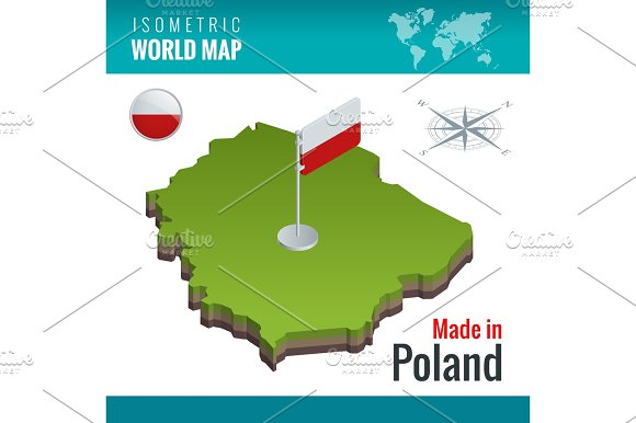 Isometric Map And Flag Of The Poland Officially The Republic Of Poland Country In Central Europe