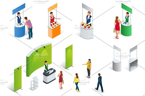 Simple Exhibition Stand Vector : Isometric set of promotion stands on a white background