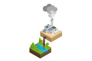 Isometric Pollution of the environment concept. The plant pours dirty water into the river, the pipes smoke and pollute the air. Let s save the Earth. For infographics and design