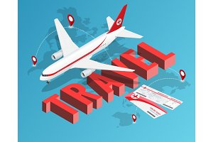 To travel is to live. Tickets and Passenger airplane. Our travel destinations banner. Isometric Luxury vacation concept