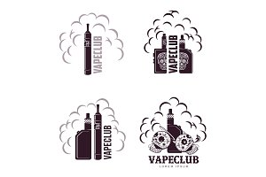 Vector vintage illustration vape logo