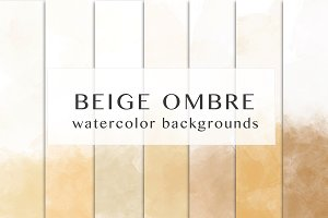 Beige ombre watercolor