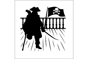 Pirate and Jolly Roger - vector silhouette