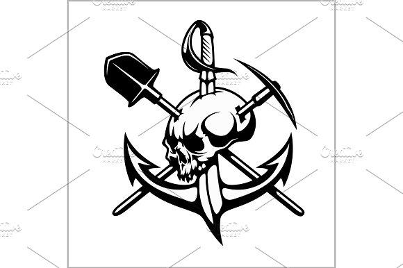 Emblem Of Treasure Hunters Heraldic Sign Treasure Hunter Vector For Print Or Design