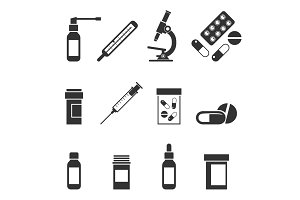 A set of medical icons.