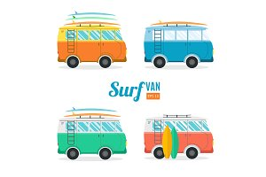 Surf Van Set. Flat Design