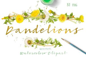 Dandelions-clipart set watercolor