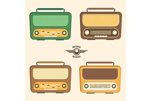 Colorful Retro Radio Set.