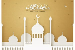 Ramadan greeting card vector illustration.