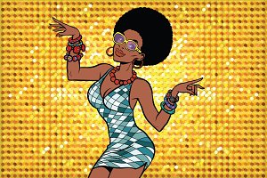 African American woman disco dancer