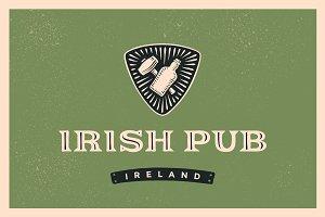 Classic retro styled label for Irish Pub