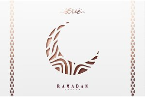 Month Ramadan greeting card with arabic calligraphy Ramadan Kareem. Islamic background half a month