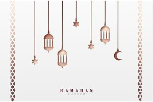 Arabic lanterns or lamps, hanging half a month and a star.